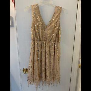 Shimmer for me extended length gold sequin dress